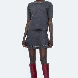 NWT Zara Size S Gray Chain Mini Skirt